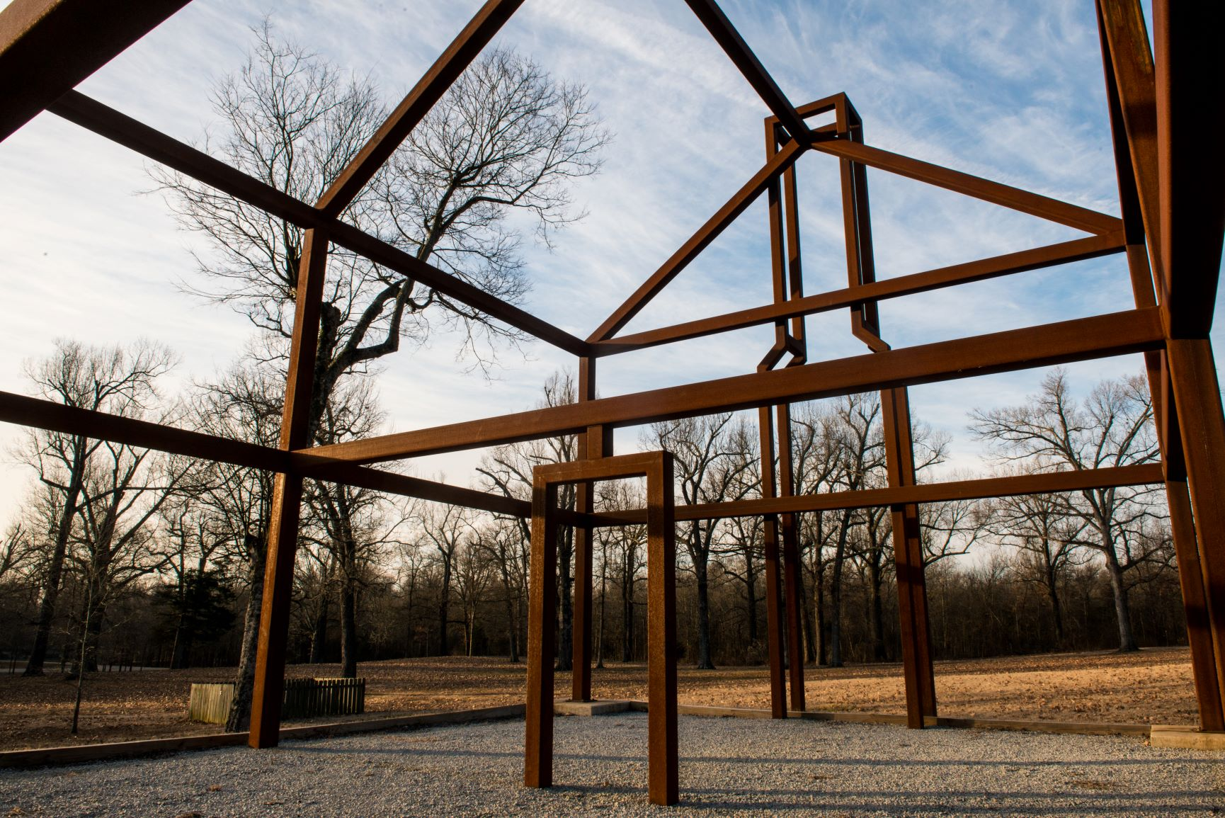 "A side view of the steel framed ""ghost structure"" at Davidsonville Historic State Park which acts as a visual outline representation of where the post office would have been in the town."