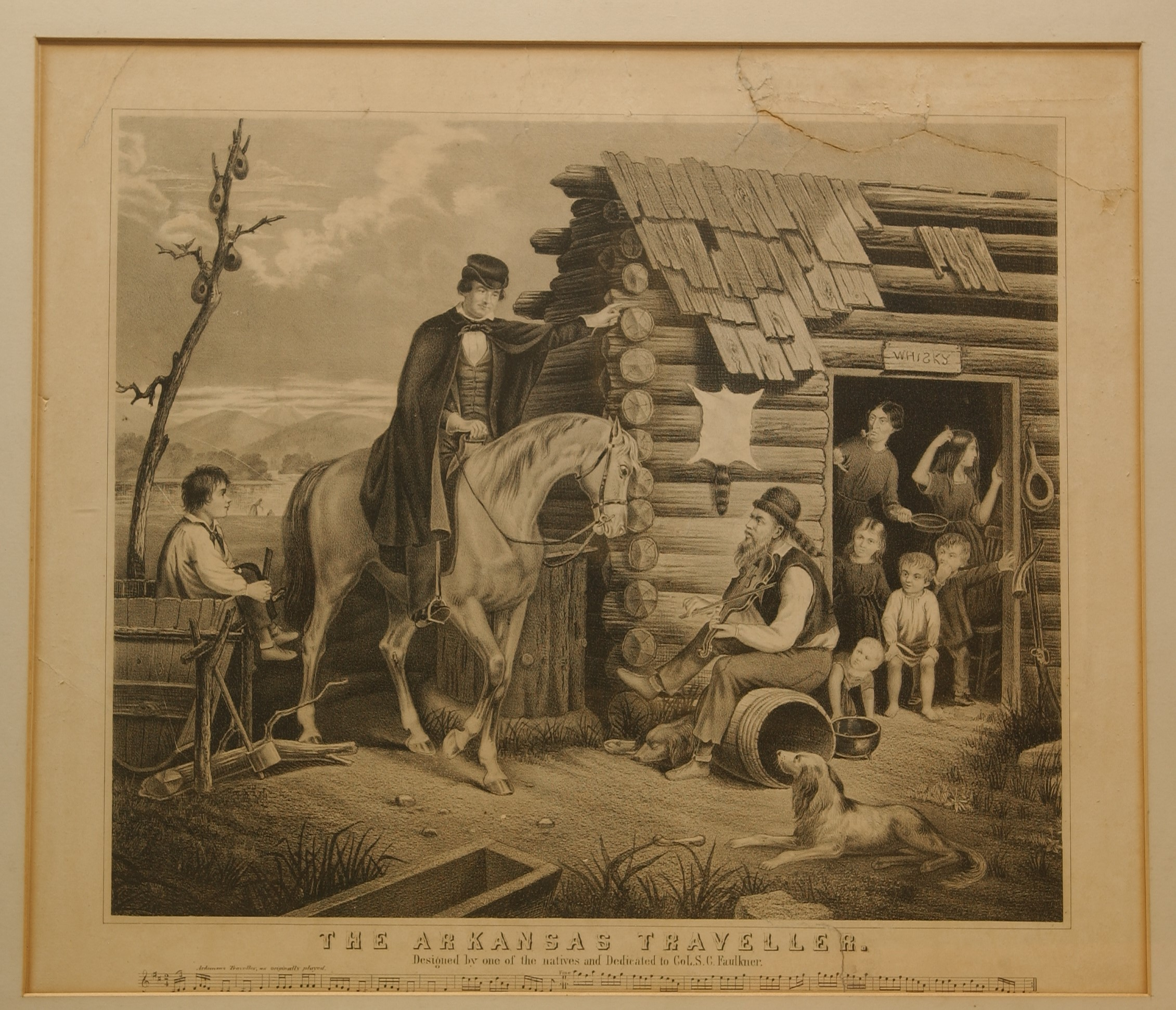 Framed print of The Arkansas Traveler with man on horse greeting eight people at a cabin