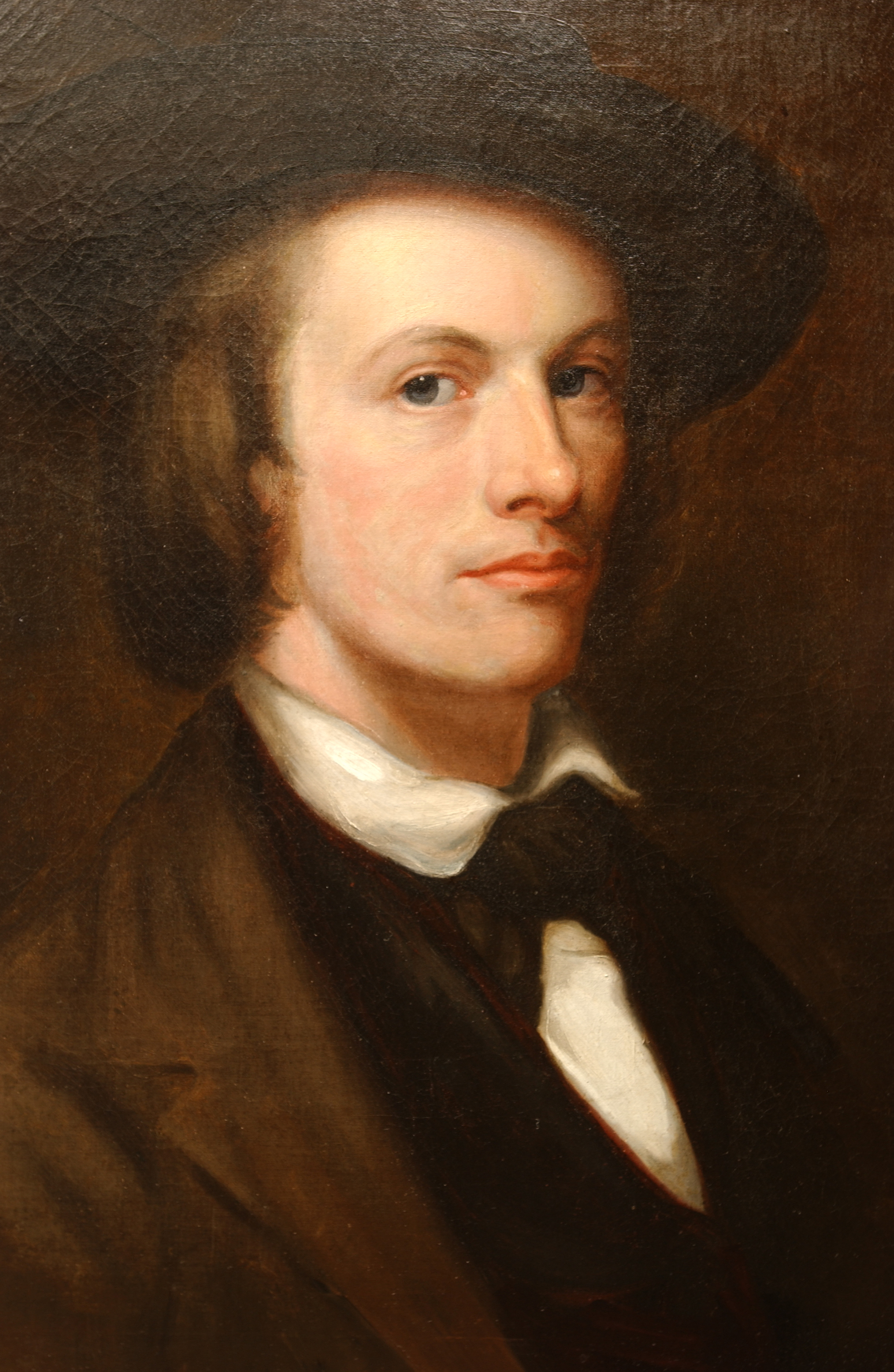 Painted portrait of Edward Washbourne with him looking at viewer with serious face, wearing black suit and hat