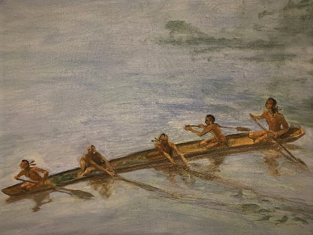 Painting of five American Indians in a canoe traveling on the river.