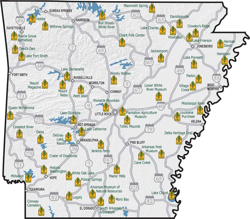 Arkansas State Parks Printable Map | Arkansas State Parks