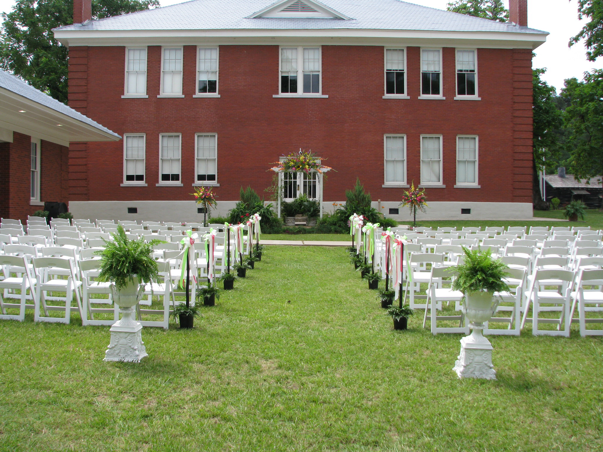 Wedding chairs set up in front of court house at Historic  Washington State Park
