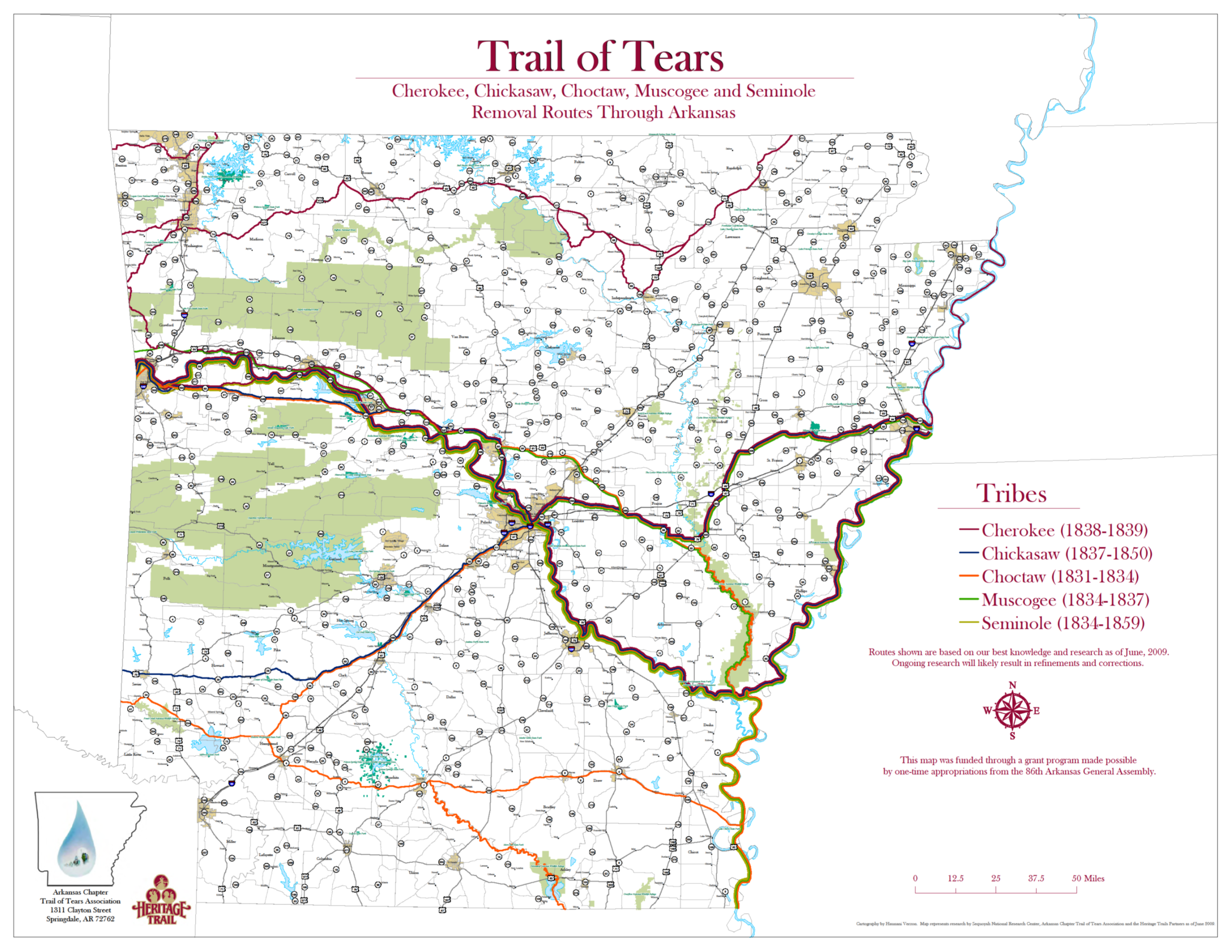 Map of the removal routes used by the five Southeastern tribes that removed to present day Oklahoma. Courtesy of Arkansas Chapter of the Trail of Tears Association.