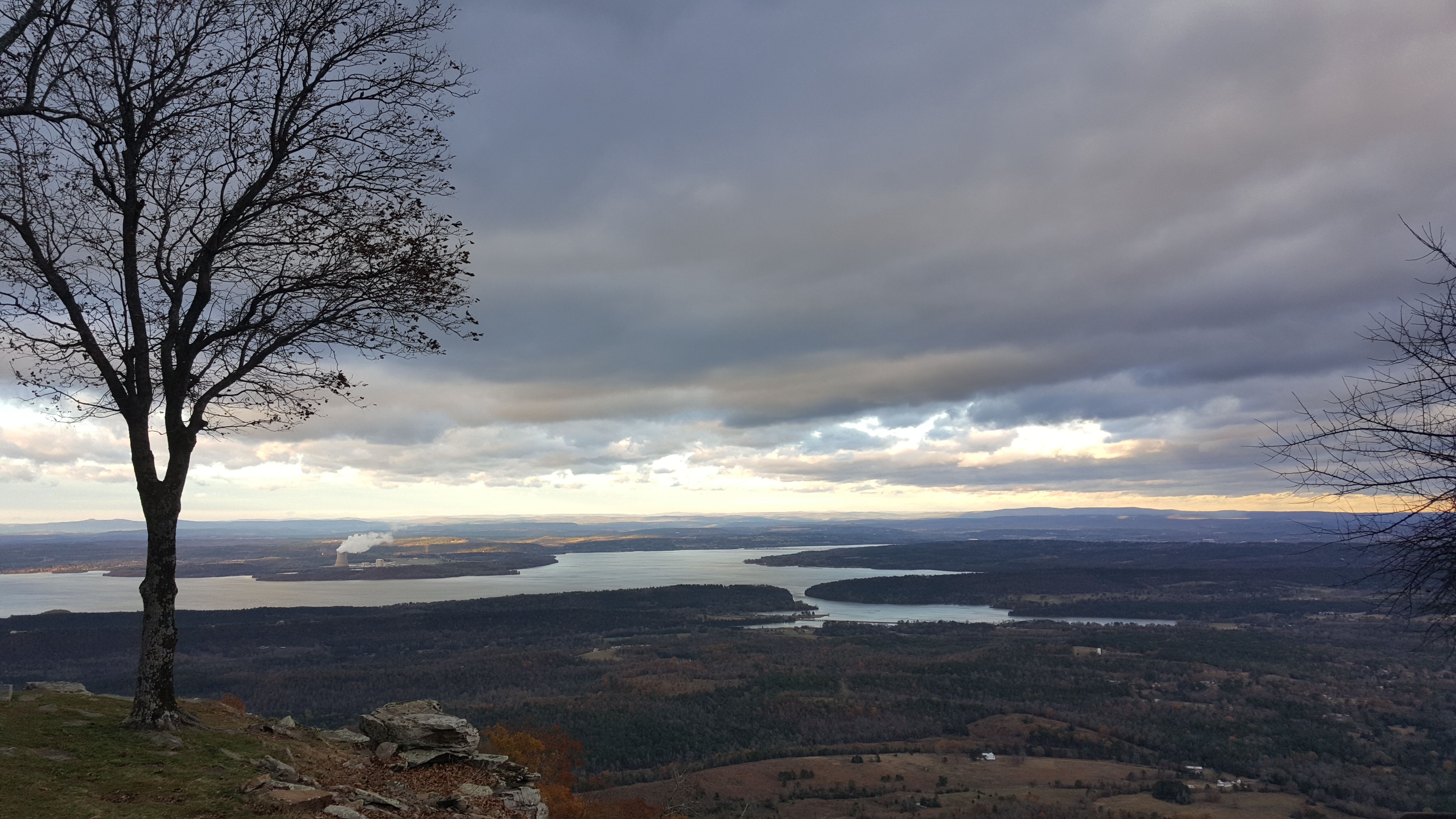 A view of landscape from the top of Mount Nebo, with the Arkansas River in the distance. Photo Courtesy of Arkansas Department of Parks, Heritage, and Tourism.