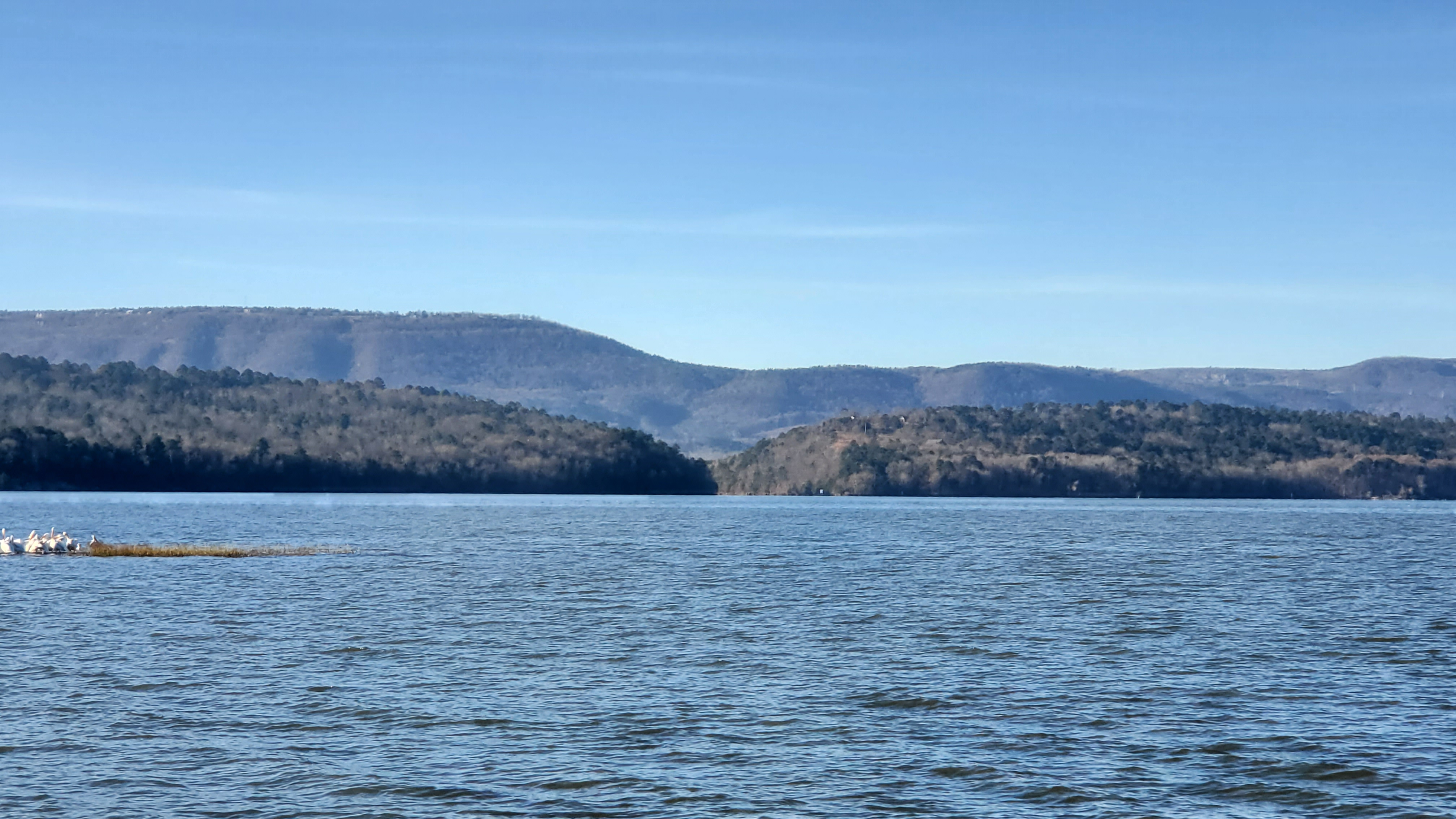 The view of the Arkansas River from the shore of Lake Dardanelle from behind the Lake Dardanelle State Park Visitor Center. Photo Courtesy of Lake Dardanelle State Park.