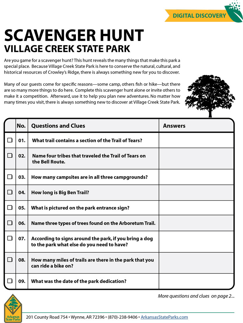 Village Creek State Park Scavenger Hunt Snapshot