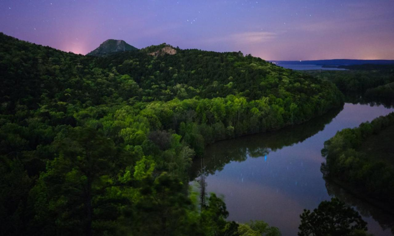 Pinnacle Mountain at Night.