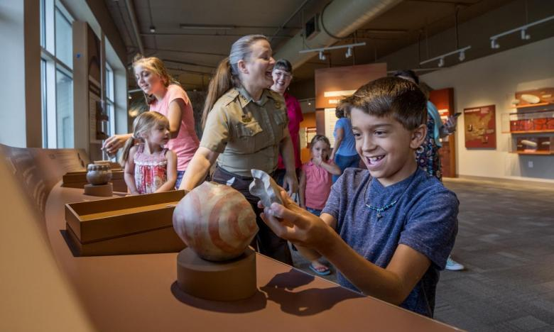 Kid-friendly museum exhibits at Hampson Archeological Museum State Park
