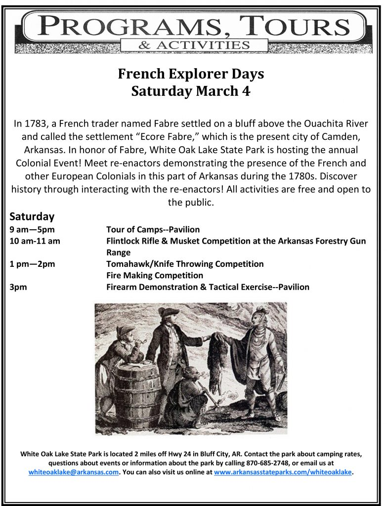 white oak lake state park french colonial days schedule 2017