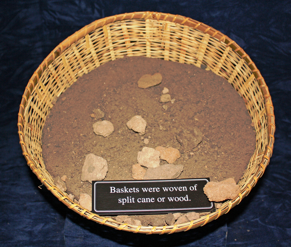 Along with chard sticks baskets were used as a prehistoric mound building tool.