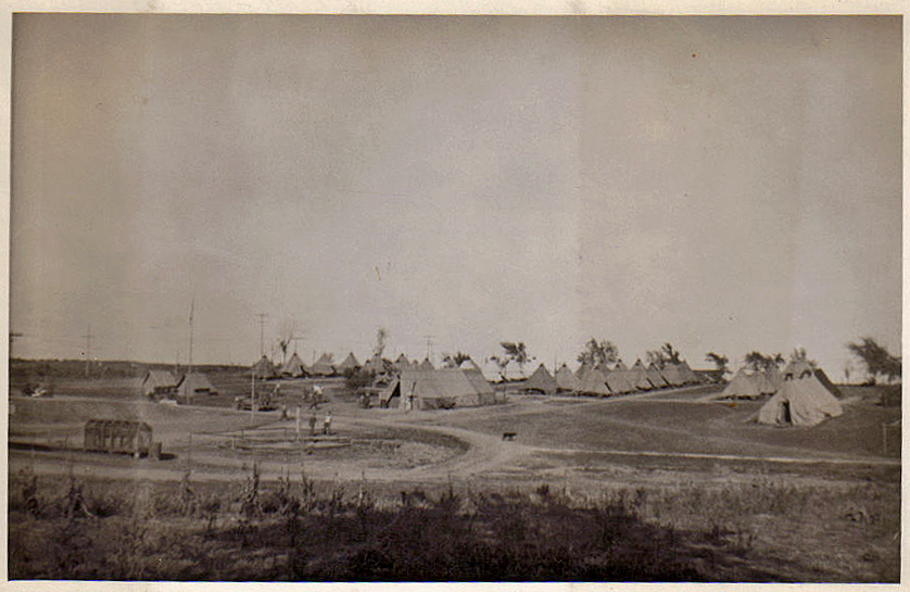 The first company of Civilian Conservation Corps workers lived in tents while working on the park. This picture shows the barren conditions that the area was in before the CCC planted numerous trees, vines, and shrubs.